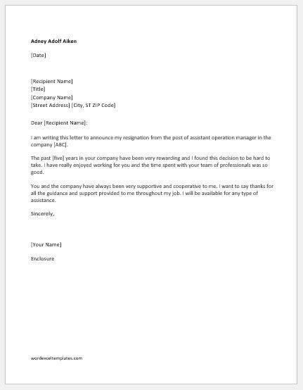 Resignation Letter Format In Word For Personal Reason - Sample Resignation Letter