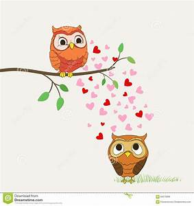 Cute owls in love stock vector. Illustration of leaf ...