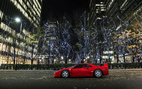 Ferrari F40 Supercar, City, Night, Lights Wallpaper