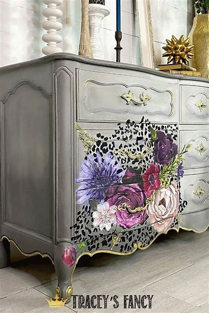 Painted Furniture Dresser Leopard Transfers Floral Whimsical