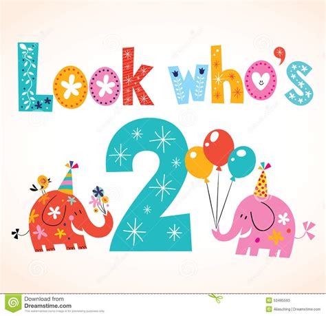 Birthday Card Image 2 by Look Who S Two Second Birthday Card Stock Vector