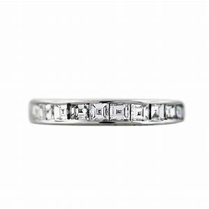 14k white gold square step cut diamond wedding band ring With white gold diamond cut wedding ring