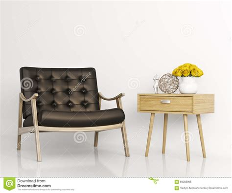 Armchair Side Table by Armchair And Side Table 3d Rendering Stock Illustration