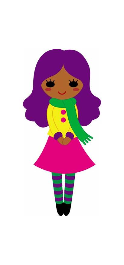Clipart Purple Hair Girly Clip Teenager Outfit