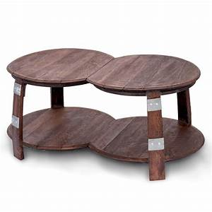 wine barrel double round coffee table With double round coffee table