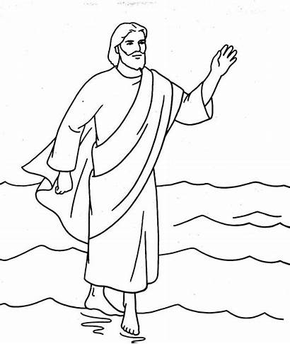 Coloring Jesus Water Walking Walks Peter Clipart