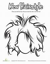 Coloring Hair Pages Hairstyle Education Cool Punk Crazy Hairstyles Sheets Printable Worksheet Wild Preschool Craft Styles Face Books sketch template