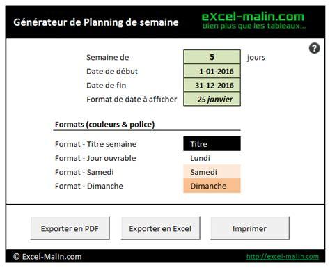 modèle planning hebdomadaire excel gratuit semainier planning excel modifiable et gratuit excel