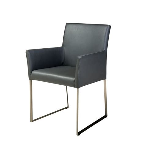 mobital tate faux leather dining arm chair in gray dar