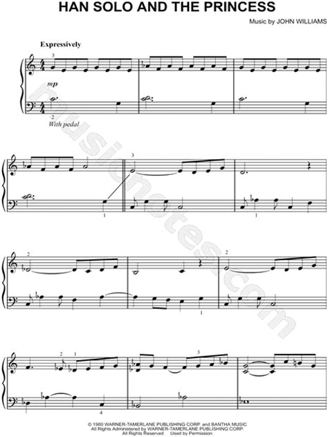 empire flooring theme song quot han solo and the princess quot from star wars the empire strikes back sheet music easy piano