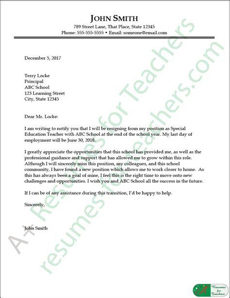 Sample Resignation Letter For Teacher Retirement