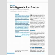 (pdf) Critical Appraisal Of Scientific Articles Part 1 Of A Series On Evaluation Of Scientific