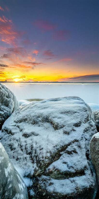 Sunset Winter Frozen Shore Mountain Layer Snow