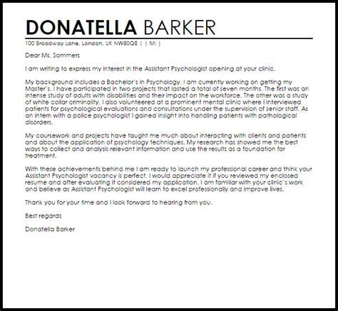 assistant psychologist cover letter sle livecareer