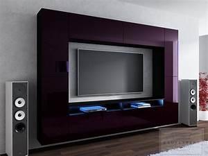 Tv Wand Modern : kaufexpert wohnwand cinema aubergine hochglanz schwarz ~ Michelbontemps.com Haus und Dekorationen