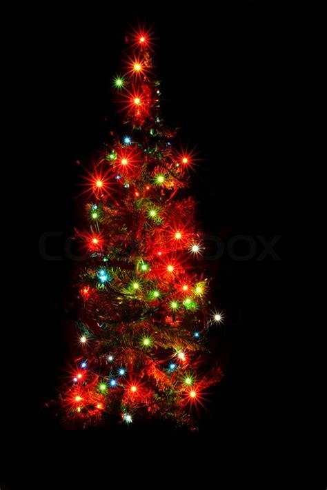 black tree with lights christmas tree lights on the black background stock photo colourbox