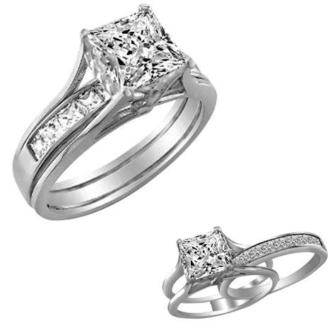 2 ct princess cut 2 piece engagement wedding ring band solid 10k white gold ebay