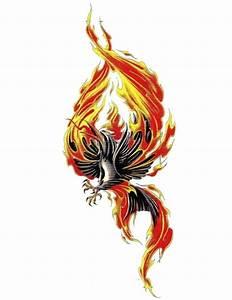 Black crying phoenix on fire tattoo design - Tattooimages.biz