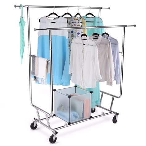 hanging clothes rack langria collapsible adjustable rail rolling garment