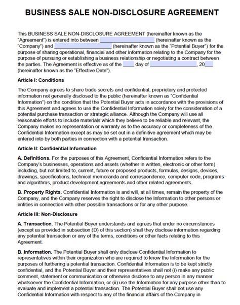 business sale  disclosure agreement nda