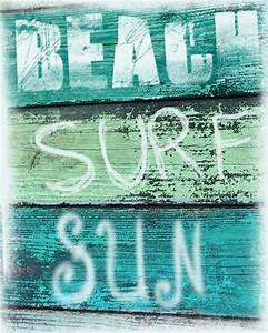 Vintage beach sign art print surf sun aqua green blue