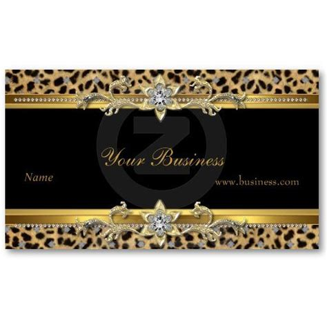 elegant gold leopard black elegant business card zazzle