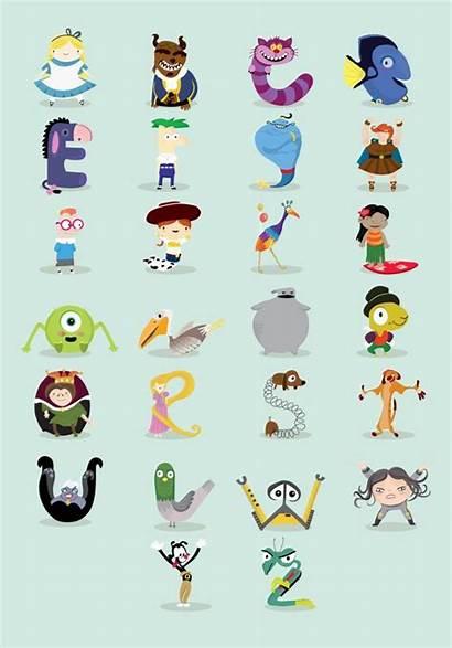 Disney Personajes Behance Abecedario Letras Animados Letra