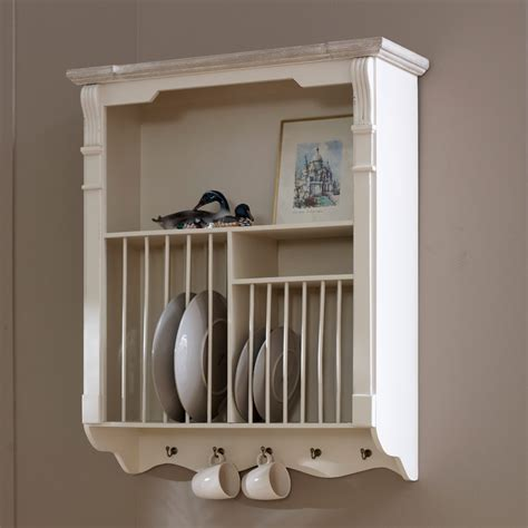 cream wall mounted plate rack kitchen crockery french country shabby vintage ebay