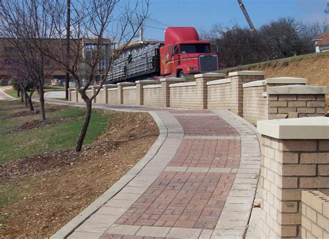 decorative concrete pillars decorative concrete and brick sidewalk and wall with