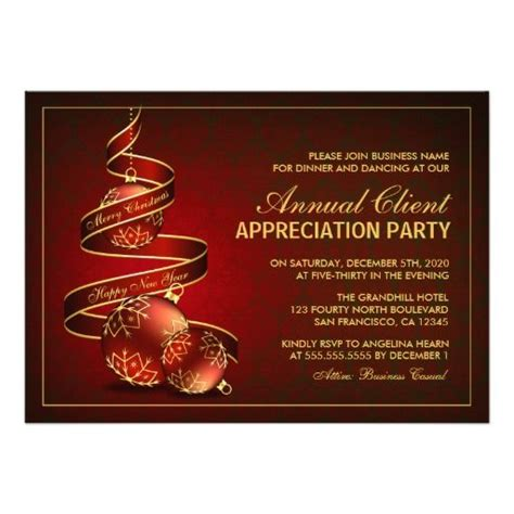 elegant holiday client appreciation party invite zazzle