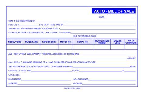 auto bill  sale template