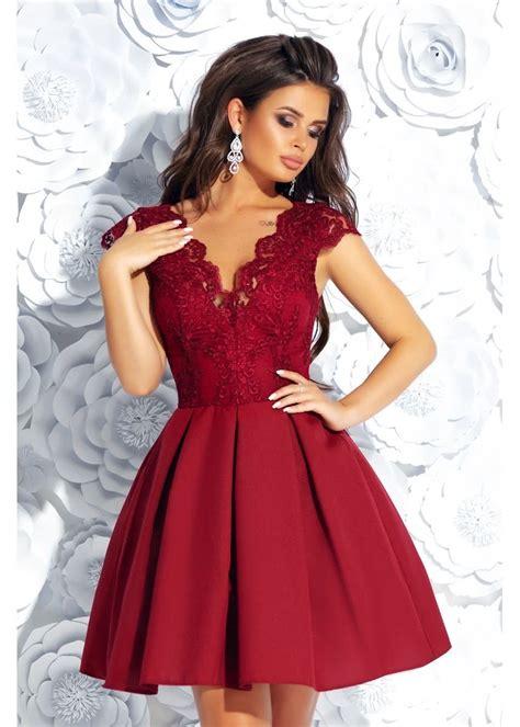 Короткое коктейльное кружевное платье на выпускной вечер ...
