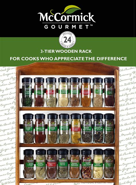 Mccormick Spice Rack by Mccormick Gourmet Spice Rack Three Tier Wood 24 Count Ebay