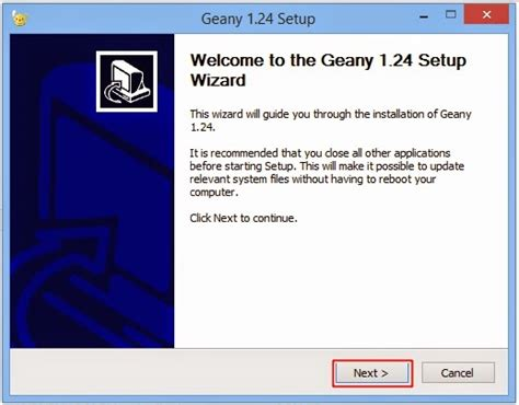geany ide install windows proses installasi