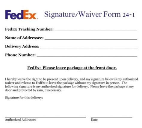 fedex signature waiver   handy pinterest