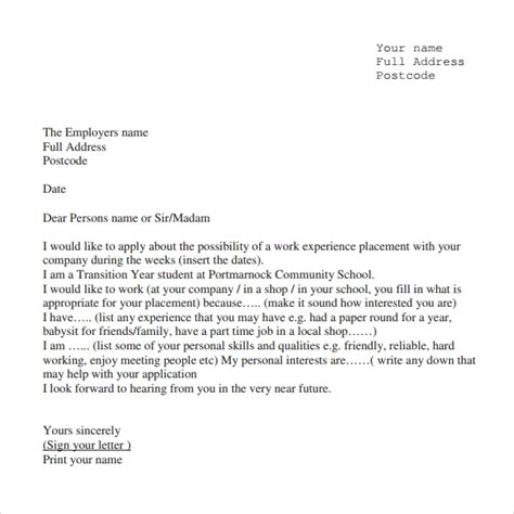 work experience letter samples okerwhyanythingco