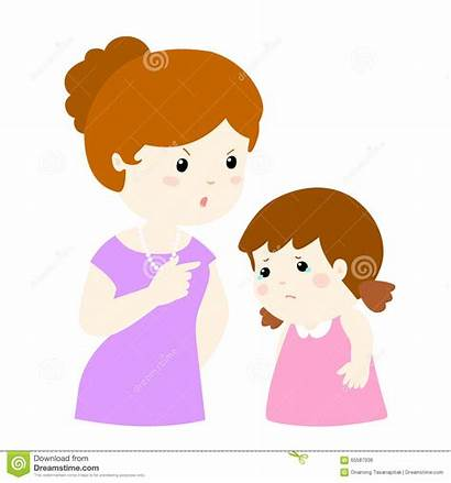 Daughter Mom Cartoon Mamma Figlia Scolds Illustrazione