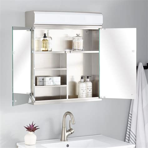 delview stainless steel medicine cabinet  lighted