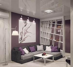 Wohnzimmer Einrichten Farben : graues ecksofa lila wandfarbe und wei er raumteiler ~ Lizthompson.info Haus und Dekorationen