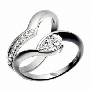 platinum pear shaped diamond engagement ring With platinum and diamond wedding rings