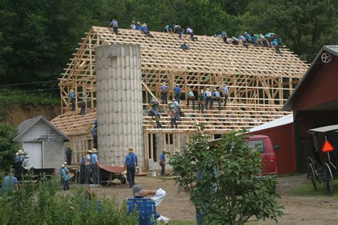 Amish Barn by Wisconsin Amish Barn Raising