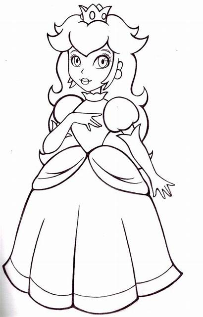 Peach Coloring Princess Pages Mario Printable Sheapeterson