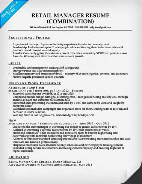Resume Templates For Retail Management by Combination Resume Sles Resume Companion