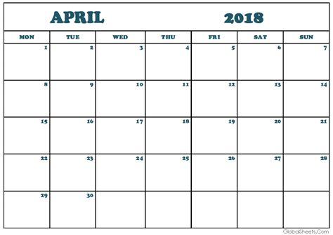 monthly calendar template 2018 april 2018 monthly calendar printable