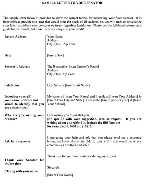 letter to senator template how to write a letter to a senator sle alta sle letter to a senatorthank you letters