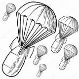 Bombs Bomb Sketch Vector Nuclear Parachutes Illustration Explosion Drawing Parachute Doodle Atomic Pages Gravity Background Coloring Depositphotos Fuse sketch template