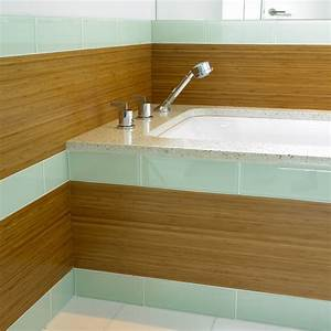 Glass tile bathroom bathroom contemporary with bamboo for Bamboo in the bathroom