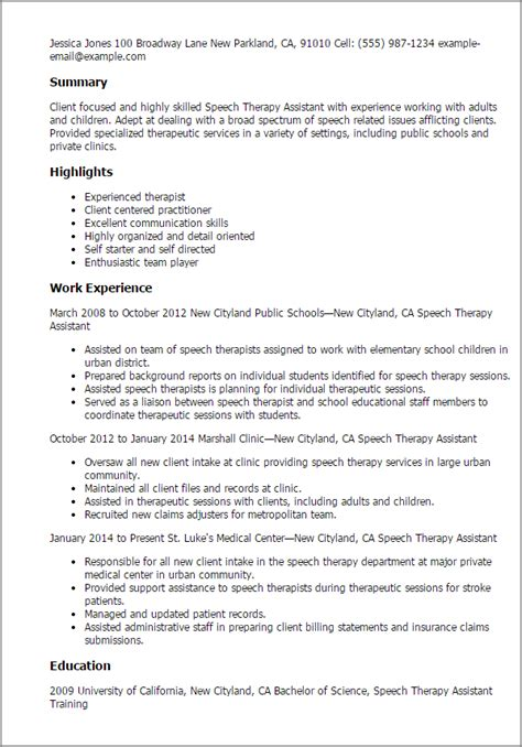 professional speech therapy assistant templates to