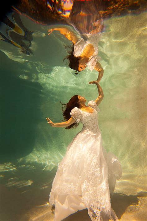 trash  dress bridal art underwater