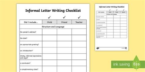 yy informal letter writing checklist requests ks